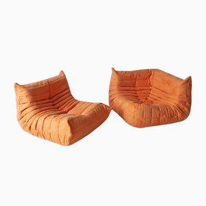 Orange Microfiber Togo Armchair & Corner Set by Michel Ducaroy for Ligne Roset, 1970s, Set of 2