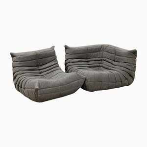 Grey Tissue Togo Armchair & Corner Set by Michel Ducaroy for Ligne Roset, 1970s, Set of 2