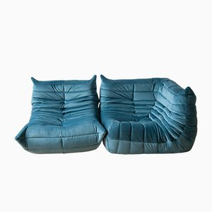 Blue Sea Velvet Togo Armchair & Corner Set by Michel Ducaroy for Ligne Roset, 1970s, Set of 2