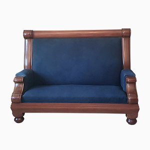 Antique Art Nouveau Mahogany High-Backed Sofa