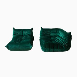Green Velvet Togo Armchair & Corner Set by Michel Ducaroy for Ligne Roset, 1970s, Set of 2