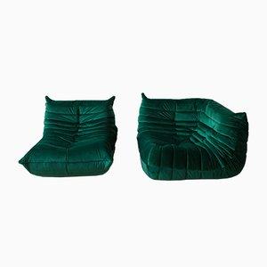 Set di angoli e sedie Togo in velluto verde di Michel Ducaroy per Ligne Roset, anni '70, set di 2