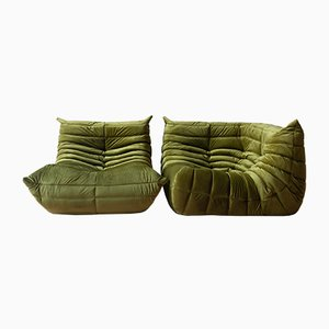 Olive Green Velvet Togo Armchair & Corner Set by Michel Ducaroy for Ligne Roset, 1970s, Set of 2