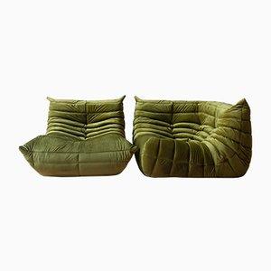 Set di angoli e sedie Togo in velluto verde oliva di Michel Ducaroy per Ligne Roset, anni '70, set di 2