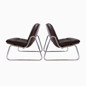 Vintage Brown Leather Lounge Chairs from Drabert, Set of 2