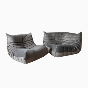Grey Velvet Togo Armchair & Corner Set by Michel Ducaroy for Ligne Roset, 1970s, Set of 2