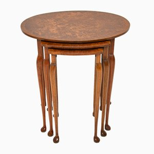 Burr Walnut Oval Nesting Tables, 1920s
