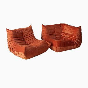 Orange Velvet Togo Armchair & Corner Set by Michel Ducaroy for Ligne Roset, 1970s, Set of 2