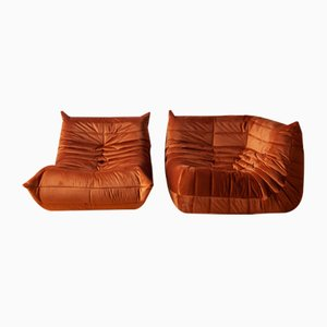 Orange Amber Velvet Togo Armchair & Corner Set by Michel Ducaroy for Ligne Roset, 1970s, Set of 2