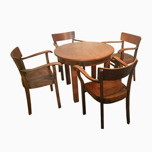 German Wooden Dining Table & Chairs Set from Deutsches Reichspatent, 1930s, Set of 5