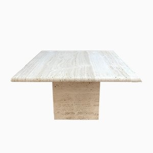 Square Travertine Coffee Table, 1970s