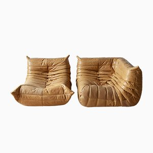 Camel Leather Togo Armchair & Corner Set by Michel Ducaroy for Ligne Roset, 1970s, Set of 2