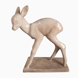 Ceramic Deer by Else Bach for Karlsruher Majolika, 1950s