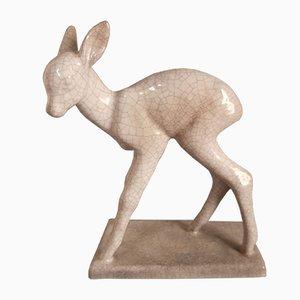 Cervo in ceramica di Else Bach per Karlsruher Majolika, anni '50
