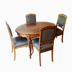 Antique Biedermeier Mahagony Dining Table & Chairs, Set of 5