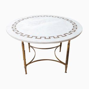 Mid-Century French Marble and Brass Circular Coffee Table, 1960s