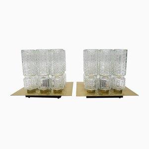 Deckenlampen aus strukturiertem Glas & Messing von Limburg, 1960er, 2er Set