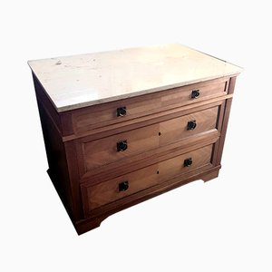 Vintage Wood Linen Chest & Nightstand with Marquetry Band, Set of 2