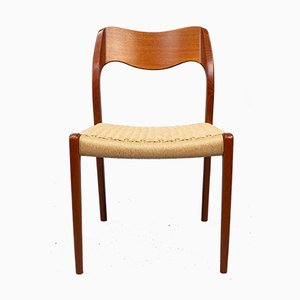 Danish Teak & Papercord Model 71 Dining Chairs by Niels Otto Møller for J.L. Møllers, 1960s, Set of 4