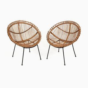 Mid-Century Italian Rattan and Black Metal Shell-Shaped Armchairs Attributed to Franco Albini, 1950s, Set of 2