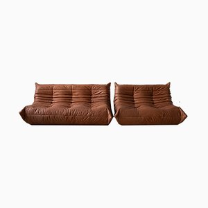 Peach Leather Togo 2-Seat & 3-Seat Sofa Set by Michel Ducaroy for Ligne Roset, 1970s, Set of 2
