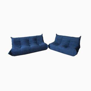 Juego de sofás Togo en azul marino de dos plazas y tres plazas de Michel Ducaroy para Ligne Roset, años 70. Juego de 2