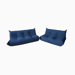 Marineblaues Togo 2-Sitzer Sofa Set von Michel Ducaroy für Ligne Roset, 1970er, 2er Set