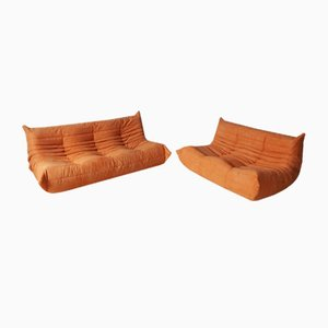Orange Microfiber Togo 2-Seat & 3-Seat Sofa Set by Michel Ducaroy for Ligne Roset, 1970s, Set of 2