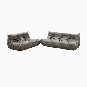 Graues Togo 2-Sitzer & 3-Sitzer Sofa Set von Michel Ducaroy für Ligne Roset, 1970er, 2er Set