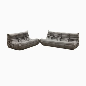 Grey Tissue Togo 2-Seat & 3-Seat Sofa Set by Michel Ducaroy for Ligne Roset, 1970s, Set of 2