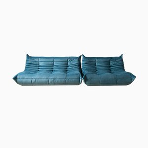 Blue Sea Velvet Tissue Togo 2-Seat & 3-Seat Sofa Set by Michel Ducaroy for Ligne Roset, 1970s, Set of 2