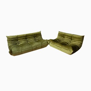 Green Olive Velvet Tissue Togo 2-Seat & 3-Seat Sofa Set by Michel Ducaroy for Ligne Roset, 1970s, Set of 2