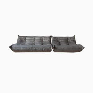 Grey Velvet Tissue Togo 2-Seat & 3-Seat Sofa Set by Michel Ducaroy for Ligne Roset, 1970s, Set of 2