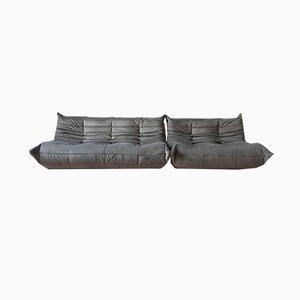 Juego de sofás Togo y sofá de tres plazas Togo Tissue de terciopelo gris de Michel Ducaroy para Ligne Roset, años 70. Juego de 2