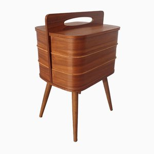 German Teak Sewing Box, 1950s