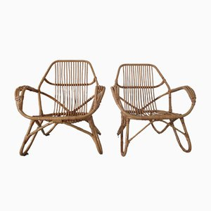 Large Italian Rattan & Bamboo Chairs, 1960s, Set of 2