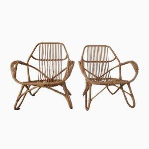 Large Italian Rattan & Bamboo Chairs, 1960s, Set of 2