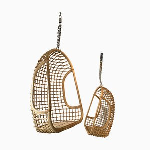 Vintage Italian Rattan Egg Lounge Chairs