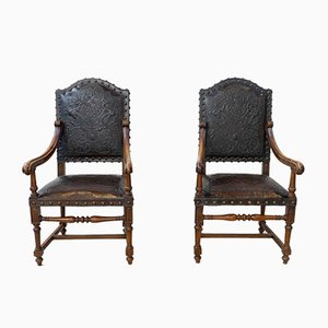 19th Century Walnut and Embossed Leather Lounge Chairs, Set of 2