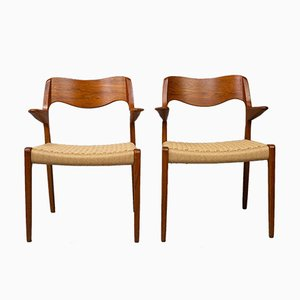 Danish Teak Model 55 Dining Chairs by Niels Otto Møller for J.L. Møllers, 1970s, Set of 2