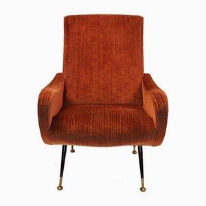 Vintage Italian Velvet Lounge Chair, 1950s