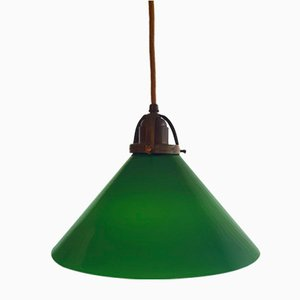 Antique Art Nouveau Glass Ceiling Lamp, 1960s