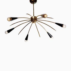 Brass 6-Arm Sputnik Ceiling Lamp, 1950s