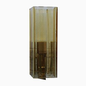 Square Brass and Yellow Murano Glass Sconce from Mazzega, 1970s