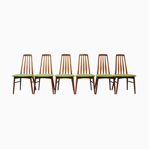 Mid-Century Teak Model Eva Dining Chairs by Niels Koefoed for Koefoeds Hornslet, Set of 6