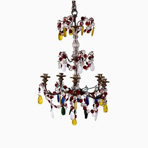19th Century French Chandelier with Colored Glass and Bronze
