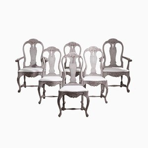 19th Century Swedish Rococo Style Richly Carved Chairs, Set of 6