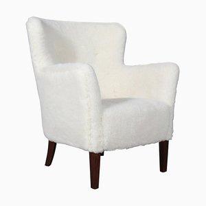 Danish Lambswool & Rosewood Lounge Chair, 1940s