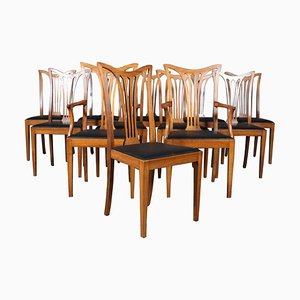 Danish Chippendale Style Dining Chairs, 1940s, Set of 12