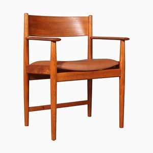 Teak and Cognac Aniline Leather Armchair by Kurt Østervig, 1960s